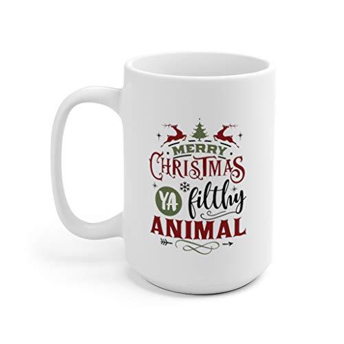 Taza de Navidad con diseño de animales sucios de Merry Christmas Ya, regalos de Navidad, 325 ml