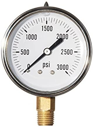 Hydraulic Liquid Filled Pressure Gauge 0-3000 PSI