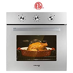 """Single Wall Oven, GASLAND Chef ES609MS 24"""" Built-in Electric Wall Oven, 240V 3200W 2.3Cu.f Convection Wall Oven with Rotisserie, 9 Cooking Modes, Mechanical Knob Control, Transparent Window, Stainless"""