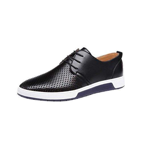 Herren Sneaker LHWY Männer Sommer Herbst Breathable Slipper Lace Up Geschäfts Freizeit Hohle Feste Lederne Flache Business Schuhe (41, Schwarz)