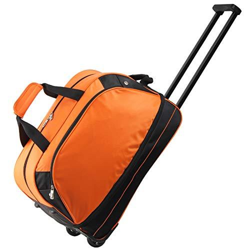 YLLHK Plegable Bolsa de Viajes de Negocios, Portátil Trolley Equipaje de Mano, Impermeable Nylon Durante la Noche Bolsa, para Viajes de Fin de Semana Negocios Escolares,Naranja