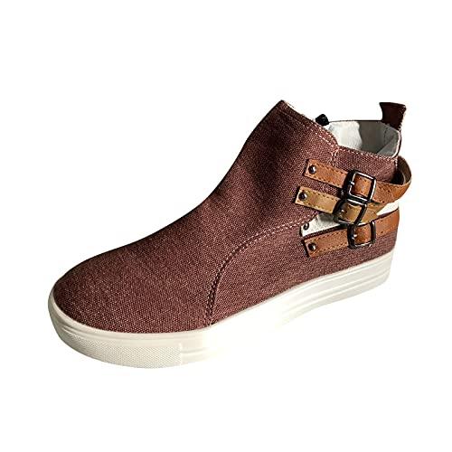High Top Canvas Sneakers Leisure Sporty Athletic FootwearZipper Comfort Walking Shoes Non-Slip Side Zipper Sneaker Brown