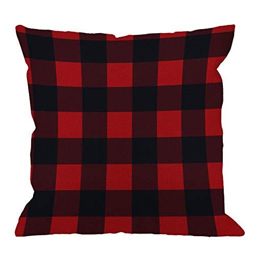 Funda de almohada a cuadros de búfalo a cuadros, funda de cojín de lino de algodón a cuadros, funda de almohada para hombres, mujeres, sofá decorativo para el hogar, sillón, dormitorio, sala de estar,