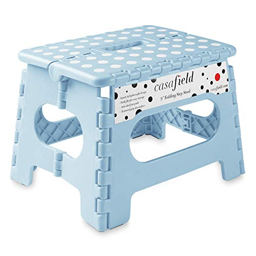 Casafield 9' Folding Step Stool with Handle, Blue - Portable Collapsible Small Plastic Foot Stool for Kids and Adults - Use in The Kitchen, Bathroom and Bedroom