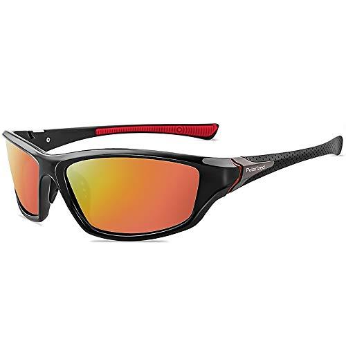 Grainas Polarisierte Sportbrille Sonnenbrille für Herren Damen Fahrerbrille Radsportbrillen zum Radfahren Skifahren Autofahren Fischen Laufen Wandern UV400 Schutz (Orange)