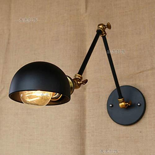 Industriële wandlamp, verstelbaar, voor het lezen, lampen, veelzijdig inzetbaar, wandlampen uittrekbaar, Edison E27, zwarte afwerking.