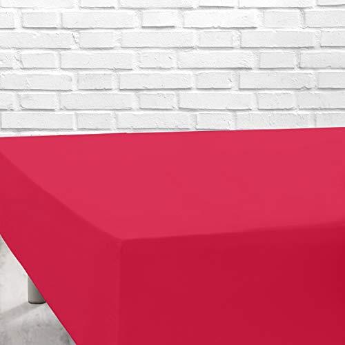TOLRA Sabana Bajera Ajustable al colchón, en Tejido Algodón Poliester de 180hilos x 10cm2 de facil Lavado - Cama de 150, Rojo