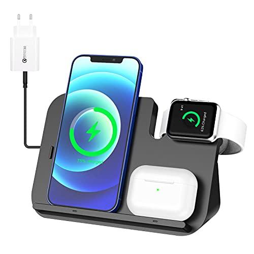 WIFORT Cargador Inalámbrico Rápido 3 en 1 para iPhone 12 iPod Apple Watch Negro
