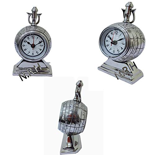 Nautical Replica Hub Reloj de mesa de metal con acabado plateado coleccionable, estilo vintage, decoración de escritorio