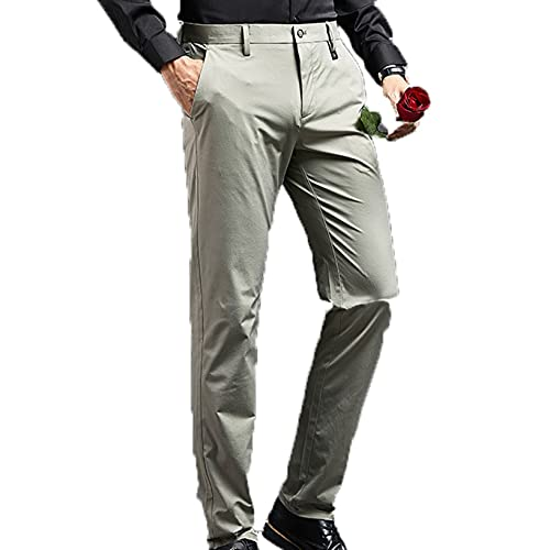 Men's Formal Smart Trousers Button Zip Bottoms Elasticated Business Office Pants Long Youth with Pockets Pants Daily Wear