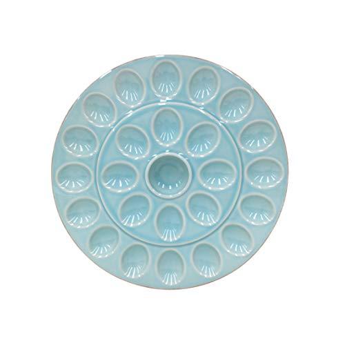 """Casafina Cook & Host Collection Stoneware Ceramic Deviled Egg Serving Platter 13.25"""", Blue"""