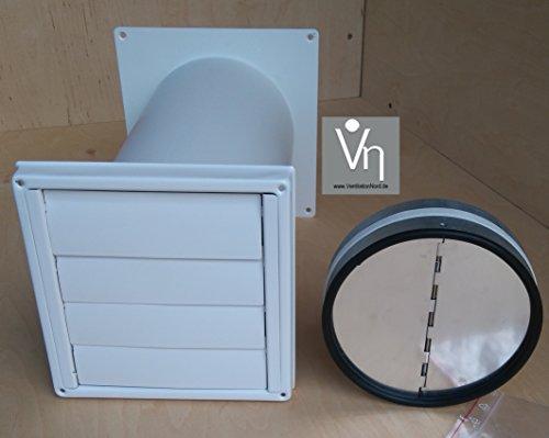 VentilationNord Mauerkasten NW150 Dunstabzug Edelstahl Weiß Pulverbeschichtet Rückstauklappe Teleskop Rohr MKWSQLE-W-150BDSI