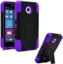 Storm-Buy Premium Durable Hard&Soft Rugged Shell Hybrid Protective Phone Case Cover Compatible with Nokia Lumia 635, Built in Kickstand, (Purple)
