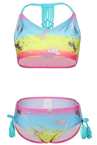 DUSISHIDAN Mädchen Bikini Zweiteiliger Bademode Handgewebte Rückseite Gefärbt Einhorn Süß Sommer Kinder Swimmanzug, Einhorn, 110-122 S(4-6)
