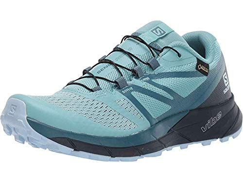 Salomon Women's Sense Ride 2 GTX Invis Fit Trail Running Shoes, Nile Blue/Navy Blazer/Mallard Blue, 9