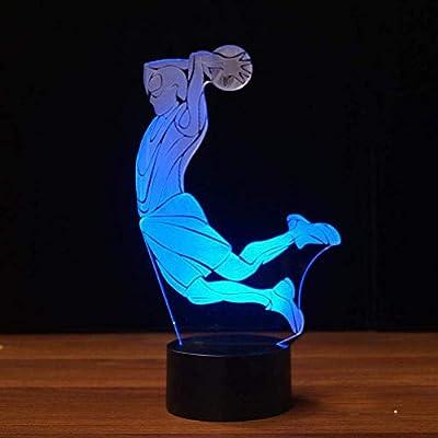 Ilusión Optica 3D Baloncesto Luz Nocturna ilusión Optica Lámpara 7 Colores Cambiantes Touch Switch USB Power Juguetes Decoración Navidad Cumpleaños Regalo