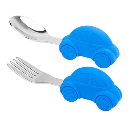 Toddler Spoon and Fork Set, Easy Grip for Baby, Toddler Children, Perfect Self Feeding Learning Utensils, 12 Month+ (Car)