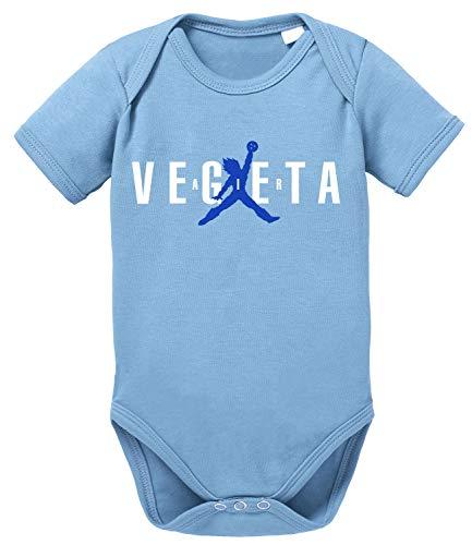 Tee Kiki Air Vegeta Body Dragon de algodón orgánico Ball Proverbs Baby Romper para niños y niñas de 0 a 12, Größe2:56/0-2 Meses, Baby:Azul Bebé