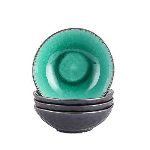 Schalen Set, vancasso 4 teilig COCO Schüsseln aus Steingut, Raku Glasur Effekt Suppenschalen Müslischalen in Vintage Aussehen,Grün