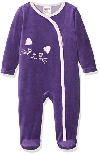 Schnizler Baby-Mädchen Schlafoverall Nicki Katze Schlafstrampler, Violett (Lila 19), (Herstellergröße: 62)