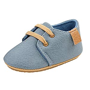 OutTop Infant Baby Shoes Mocassins with Soft Fleece Lined Non-Skid Soft Sole Newborn Warm Crib Shoes for Boys Girls (Blue, 12-15Months)