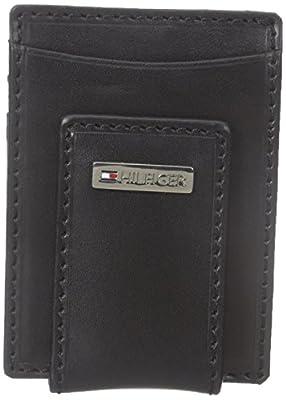 Tommy Hilfiger Men's Leather Slim Front Pocket Wallet, Fordham Black, One Size