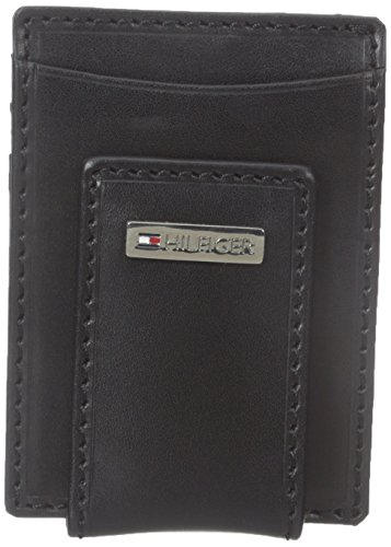 Price comparison product image Tommy Hilfiger Men's Leather Slim Front Pocket Wallet,  Fordham Black,  One Size