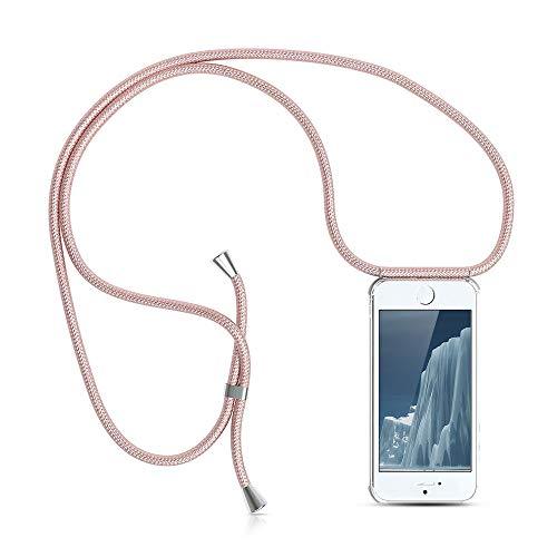 XCYYOO Carcasa de movil con Cuerda para Colgar iPhone 5/5S/SE -Funda para iPhone/Samsung/Huawei con Correa Colgante para Llevar en el Cuello -Hecho a Mano en Berlin[Transparente TPU Case/Oro Rosa]
