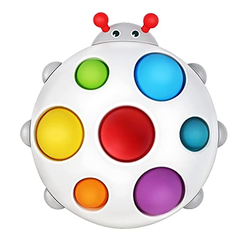 Baby Sensory Toys, New Silicone Flipping Busy Board Early Educational Toys, Rainbow Bubble Fidget Popper Toys for Toddler 1-3, Hand Toys Gifts for 6-12 Month