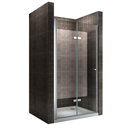Einzelfalttür Falttür Duschtür Duschabtrennung Klarglas 6mm ESG Sicherheitsglas - alle Größen (76-80cm)