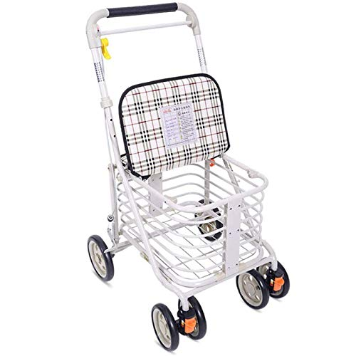 QXTT Portable Folding Elderly Shopping Trolleys Aluminium 4 Wheel Rollators Walkers With Padded Seat And Brakes Light And Safe Design