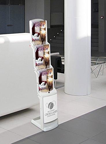 Prospektständer real bianco, faltbar, mit 3 Fächern DIN A4 im Hochformat