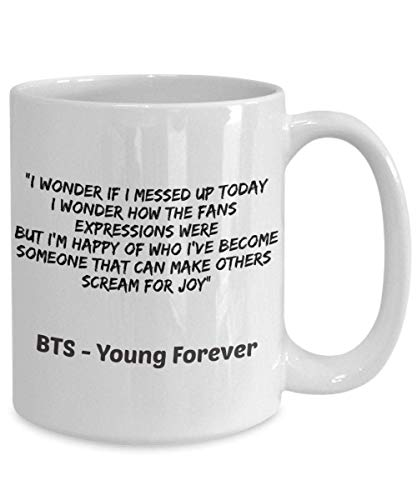 NA KPOP BTS Tazza da caffè Young Forever BTS Lyrics Cup Idee Regalo per Bangtan Boys ArMYS BTS V Jimin Jin Suga Jungkook Jhope RM