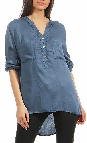 Malito Damen Bluse mit Knopfleiste | Tunika mit ¾ Armen | Blusenshirt auch Langarm tragbar | Elegant – Shirt 9015 (Jeansblau)