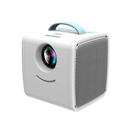 Mini Projector, HD 1080P Home Multimedia Projector With Stereo Speakers, Compatible With USB/TF Card/AV (Color : Blue-white)