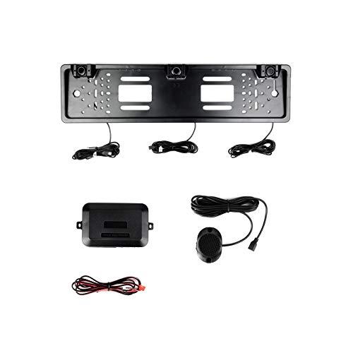 Einparkhilfe mit 3 lackierten PDC Ultraschall Sensoren integriert im Kennzeichen Nummernschild Kennzeichenhalterung kabellos hinten schwarz lackiert mit Farb Display zum nachrüsten ohne bohren
