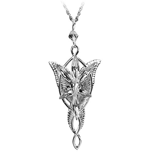 Silver Plated Lord of the Rings Arwen Evenstar Pendant Necklace with 60Cm Chain Christmas Gift