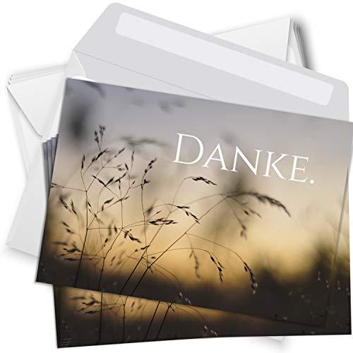 Trauer Danksagungskarten mit Umschlag | Motiv: Gräser, 15 Stück | Dankeskarten DIN A6 Set | Trauerkarten Danksagung Danke sagen
