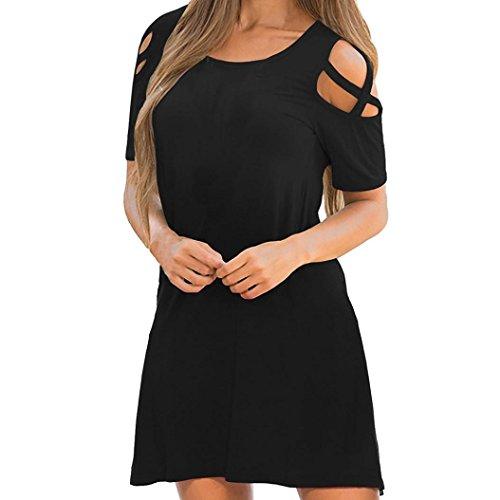 VEMOW Sommer Herbst Elegante Frauen Damen Kreuz Kurzarm Schulterfrei Lässig Täglichen Training T-Shirt Kleid(Schwarz, 42 DE/L CN)