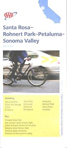 MAP OF SANTA ROSA - ROHNERT PARK - PETALUMA - SONOMA VALLEY /CALIFORNIA /CITY SERIES /HUGE FOLDOUT++++