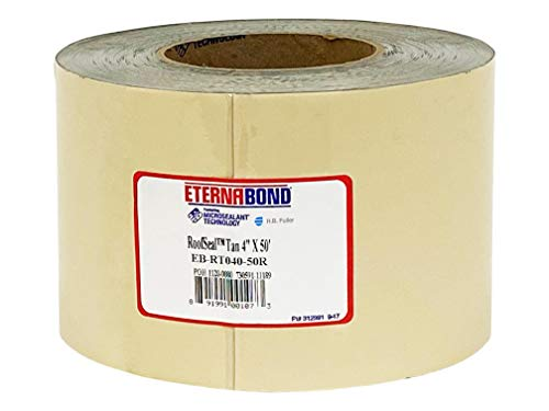 EternaBond RoofSeal Tan 4' x50' MicroSealant UV Stable Seam Repair Tape | 35 mil Total Thickness | EB-RT040-50R - One-Step Durable, Waterproof and Airtight Repair