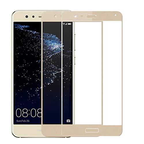 NOVAGO Huawei P10 Lite - Pack de 2 protectores de cristal templado para Huawei P10 Lite, cubre toda la pantalla (x2, dorado)
