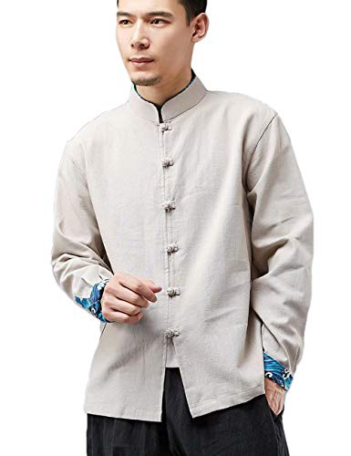 LZJN Men's Chinese Traditional Style Shirts Tang Suit Kung Fu Jacket Casual Shirt (Beige, M)
