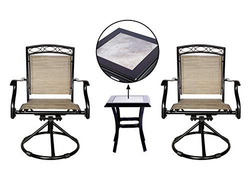 Outdoor Swivel Chairs Set Patio Dining Rocker Bistro Chair of 2 Chairs, and 1 Table with Tile top, Brown