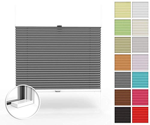 Home-Vision® Premium Plissee nach Maß, zum Anschrauben in der Glasleiste Innenrahmen Blickdicht Jalousie mit Halterungen zum Bohren, Verschiedene Profilfarben (Graphit, B101-110cm x H101-150cm)