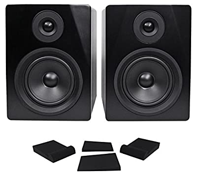 """Pair Rockville APM5B 5.25"""" 2-Way 250W Powered USB Studio Monitor Speakers+Pads by Rockville"""