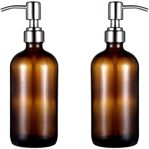 Bottiglia di Vetro Ambrato della Pompa di Vuoto | Set di 2 | Tappo in Acciaio Inossidabile | 500ML | Dispenser per Sapone liquido Gel Shampoo Olio Essenziale Lozione salsa | Alta qualità |