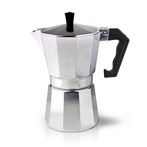 Caf? Ol? ECM-06 Italian Style Aluminium Espresso Maker Moka Pot for Ground Coffee Cappuccinos, Lattes, Flat Whites, 6 Cups (240ml)