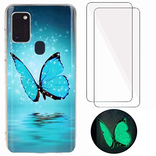 YiKaDa - Cover per Samsung Galaxy A21s + [2 Pack] Pellicola Protettiva in Vetro Temperato, Custodia Luminosa Morbida in Silicone TPU - Glitter Farfalla