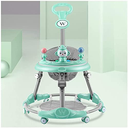 Anti-rollover Baby Walkers, Folding Toddler Walker with Push Handle & Music Light Height Adjustable and 6 Mute Universal Wheels Anti-O Leg, for Boys and Girls 6-18 Months (Color : B)